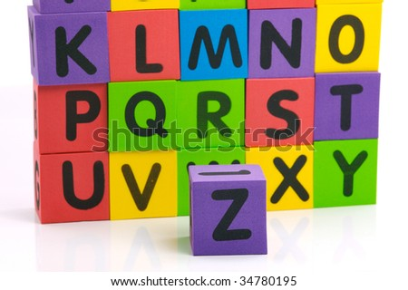 Letters of the alphabet isolated against a white background