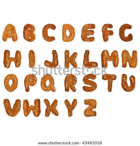Letters of the British alphabet made of gingerbread - stock photo