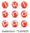 Letters on a red balls isolated on white. Part 2 of 3. - stock vector