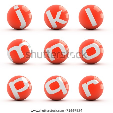Letters on a red balls isolated on white. Part 2 of 3. - stock photo