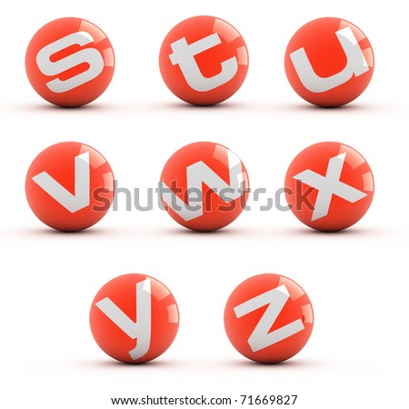 Letters on a red balls isolated on white. Part 3 of 3. - stock photo