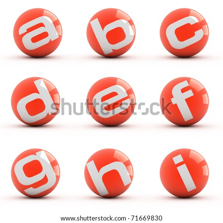 Letters on a red balls isolated on white. Part 1 of 3. - stock photo