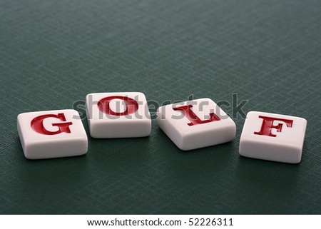 Letters on green background make word Golf.