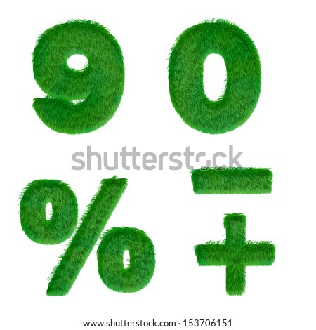 Letters 9, 0, percent made of green grass isolated on white - stock photo