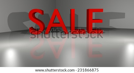 Letters saying SALE in the corner, on a reflecting surface. CGI rendered image. - stock photo