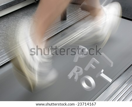 Letters spelling profit hover over man on treadmill - stock photo