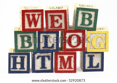 """Letters that spell """"web"""", """"blog"""" and """"html"""". Alphabet blocks. Selective focus. - stock photo"""