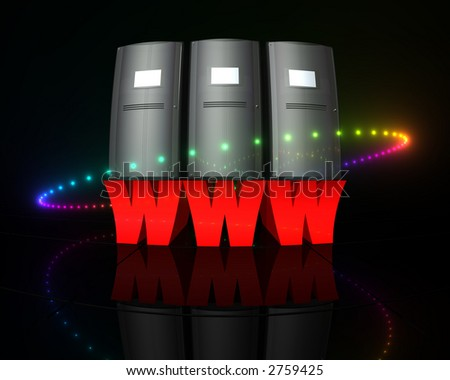 """letters """"www"""" with servers on top - stock photo"""