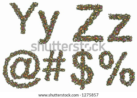 Letters y, z, #, $ and %. Mix and Match to make your own words. - stock photo