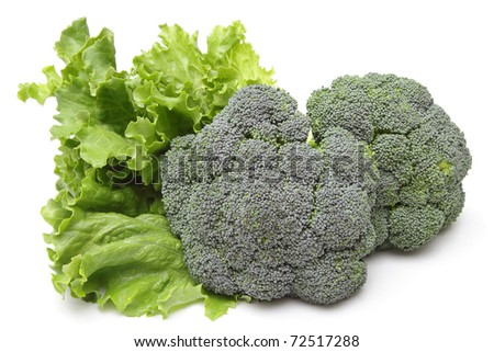 Lettuce and broccoli isolated on white background - stock photo