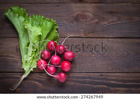 Lettuce and radishes - ingredients for a salad. Free space for text - stock photo