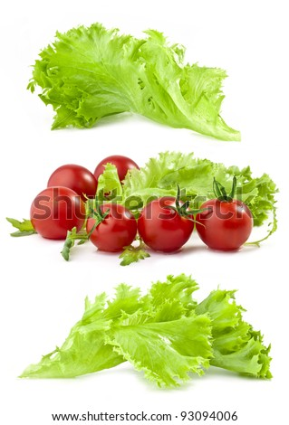 Lettuce and tomatoes isolated on white background - stock photo