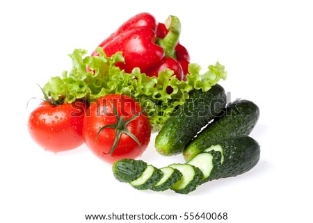 lettuce group vegetables on white background - stock photo