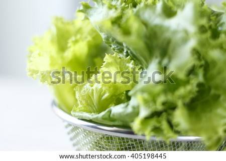 lettuce leaves in metal basket in a kitchen (selective focus)