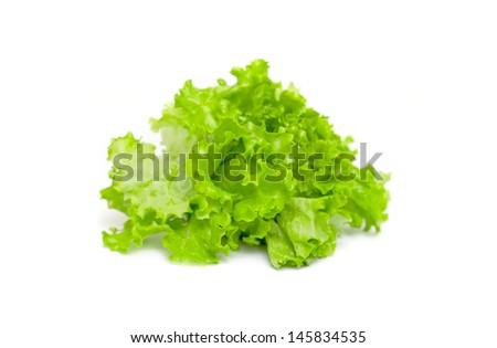 Lettuce leaves isolated on white background - stock photo