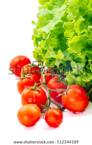Lettuce Salad And Tomatoes Isolated On White