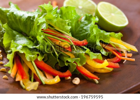 Lettuce wraps with vegetables - stock photo