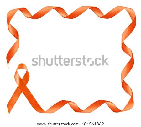 Leukemia Awareness Orange Ribbon frame with copy space - stock photo