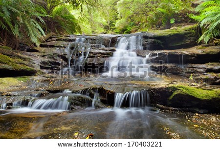 Leura cascades, Blue Mountains, Australia - stock photo