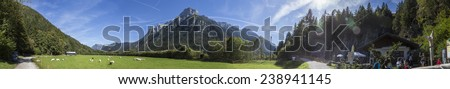 Leutaischklamm, Germany - 28th September 2014. Panoramic view of a grass field and the rocky mountains at Leutaischklamm, Germany. Sheep eating on a bright sunny day. - stock photo