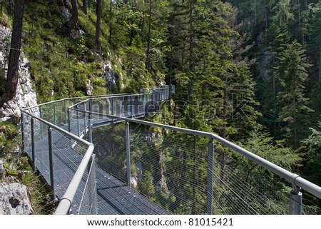 Leutasch Gorge in the German alps, Bavaria - stock photo