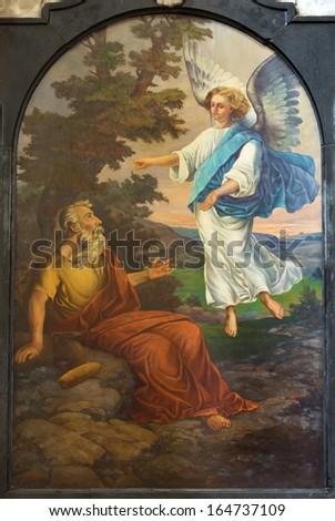 LEUVEN, BELGIUM - SEPTEMBER 3: Paint of prophet Elijah form St. Michaels church (Michelskerk) in September 3, 2013 in Leuven, Belgium.  - stock photo