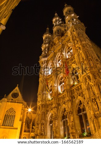 Leuven - north-east portal of Gothic town hall at night