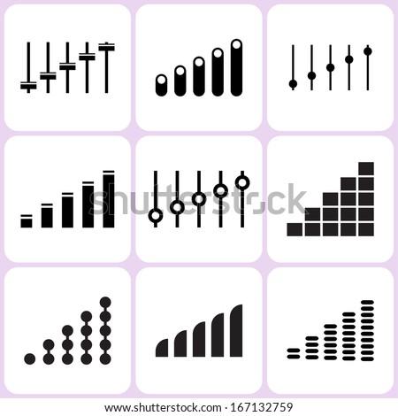 Level and Volume Icons Set - stock photo