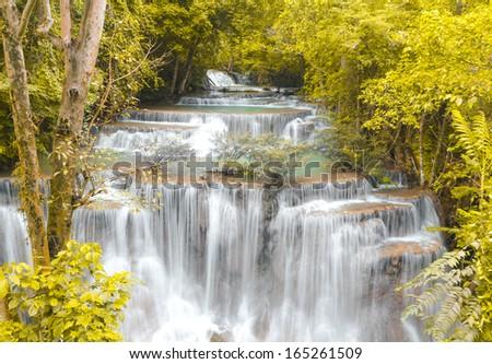Level four of Huay Mae Khamin Waterfall in Kanchanaburi Province, Thailand - stock photo