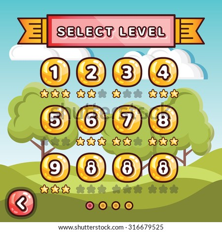 Level selection screen. Sunny hills concept. Creative ui templates set for web, mobile and computer video games - stock photo