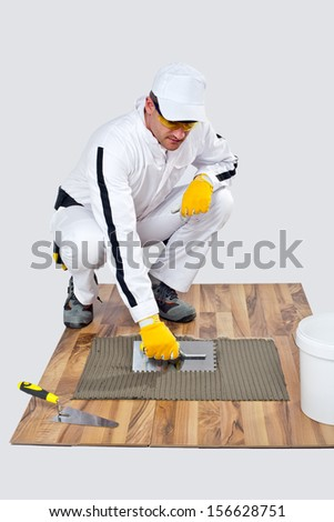 level tool on cement floor - stock photo