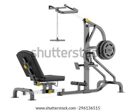 lever gym machine isolated on white background - stock photo