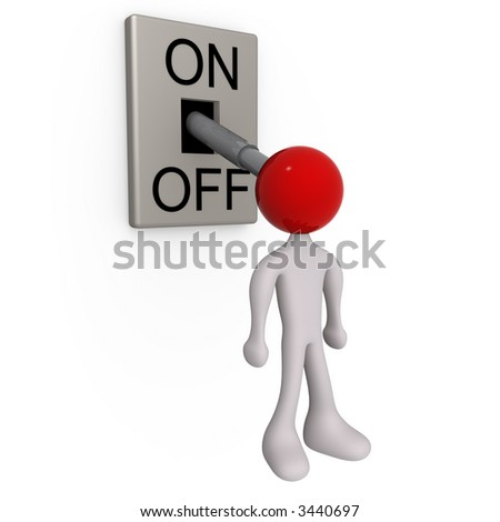 lever-man turned off - stock photo