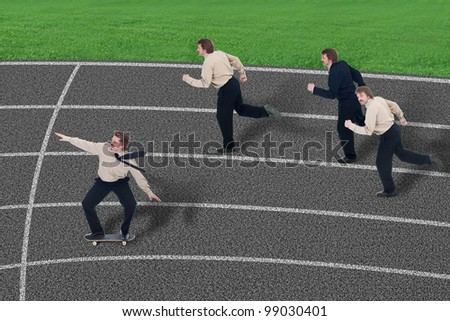 Leverage in business competition - businessman with skateboard among runners - stock photo