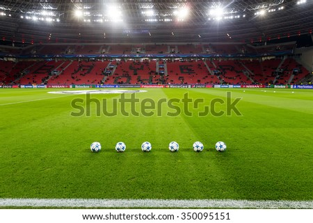 Leverkusen, Germany- December 9, 2015: Champions League football balls in the field before the match of the Champions League  Bayer 04 Leverkusen vs Barcelona at BayArena stadium
