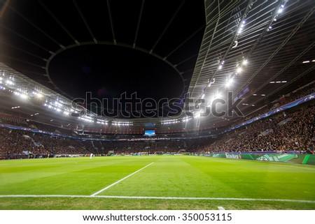 Leverkusen, Germany- December 9, 2015: Interior view of the full BayArena Stadium during the UEFA Champions League game between Bayer 04 Leverkusen vs Barcelona - stock photo
