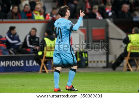 Leverkusen, Germany- December 9, 2015: Lionel Messi during the UEFA Champions League game between Bayer 04 Leverkusen vs Barcelona at BayArena stadium - stock photo
