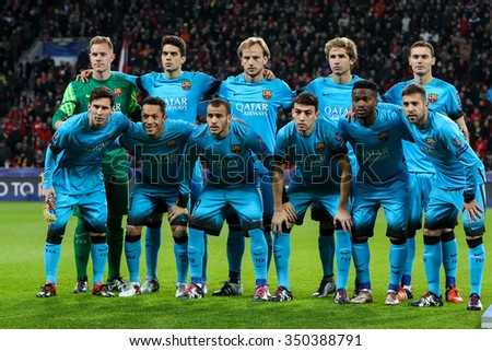 Leverkusen, Germany- December 9, 2015: The team of Barcelona during the UEFA Champions League game between Bayer 04 Leverkusen vs Barcelona at BayArena stadium - stock photo