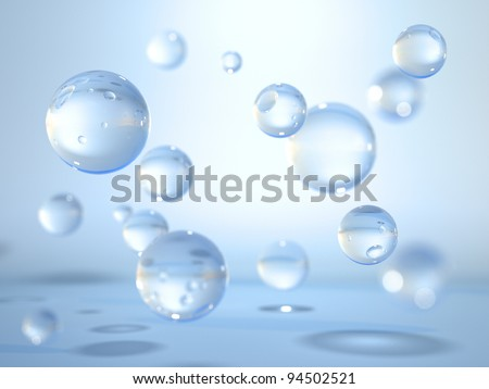 Levitating water drops - stock photo