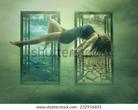 Levitation portrait young woman in her house. Lady floating girl flying in apartment room. Astral travel meditation mystical rapture state psychokinesis condition. Magic energy show human Illusion - stock photo