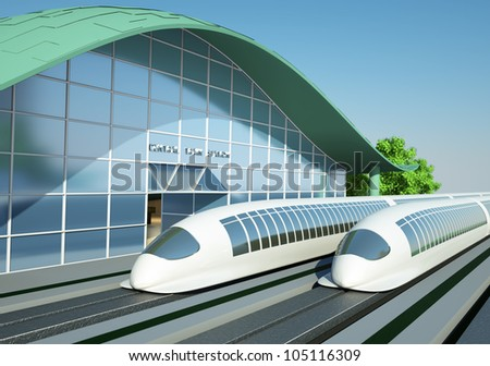levitation train in front of a small station in the future - stock photo