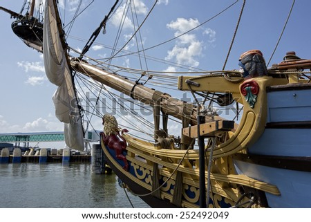 Lewes, Delaware, September 2:  The Kalmar Nyckel docked in Lewes, Delaware.  A replica of the original ship and is now used for educational purposes on September 2, 2014.