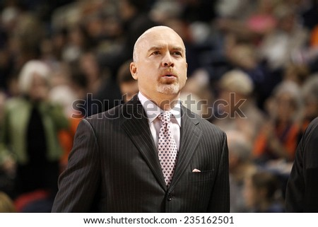 LEWISBURG, PA. - NOVEMBER 28: Penn State's Coach Pat Chambers walks the sideliness during a basketball game against Bucknell  on November 28, 2014  Sojka Pavilion in Lewisburg, PA. - stock photo