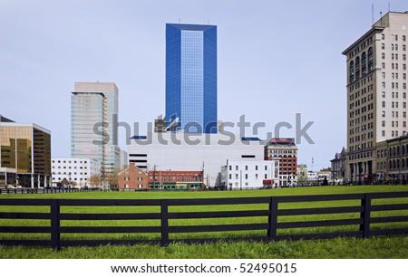 Lexington, Kentucky behind the fence. - stock photo