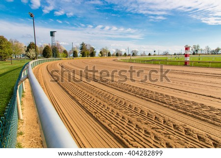 Lexington, KY. USA -  April 1, 2016. Keeneland racetrack groomed in preparation to host the 2016 Spring Race. Keeneland is considered to be the premier thoroughbred  horse racing facility in the USA. - stock photo