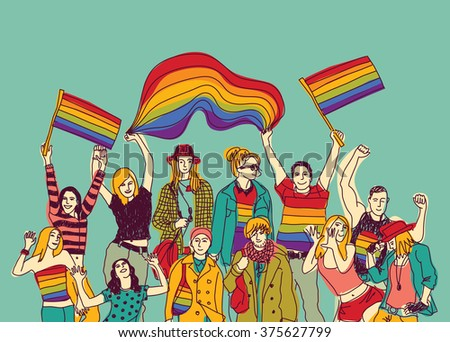 Lgbt happy gay meeting people group and sky. Color illustration.