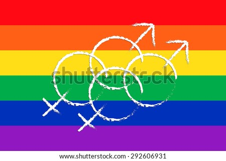 LGBT or GLBT lesbian, gay, bisexual, and transgender flag background  with homosexuality symbol. - stock photo