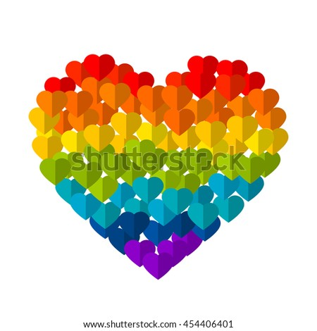LGBT symbol, Pride, Freedom hearts in rainbow colors, love cards background, art - stock photo