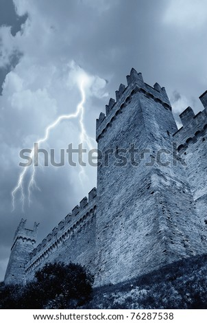 lghtning and rain over the castle - stock photo