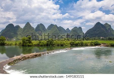 Li Riiver Yangshuo Limestone mountains -Guilin, Guangxi, China - stock photo